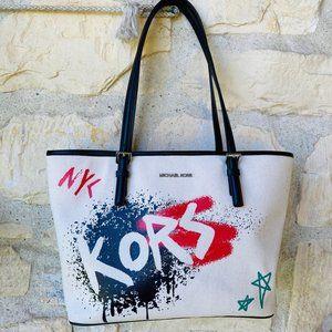 NWT Michael Kors jet set carry all tote graffiti